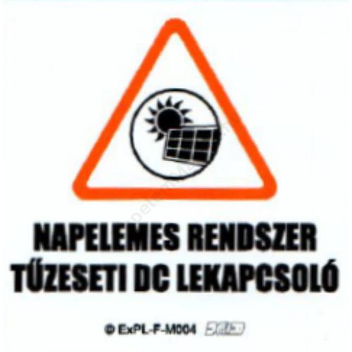 """Matrica - PV - """"Napelemes rendszer tűzeseti DC lekapcsoló"""" - 60x60 mm"""